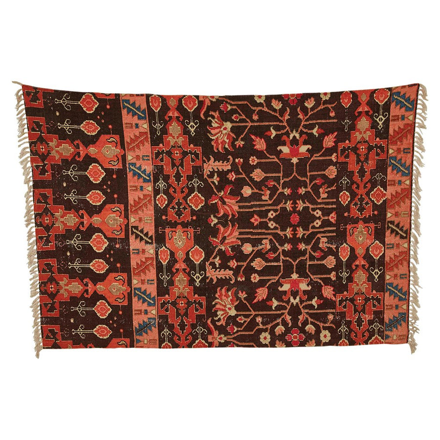 Woven Cotton Rug (Red/Brown)