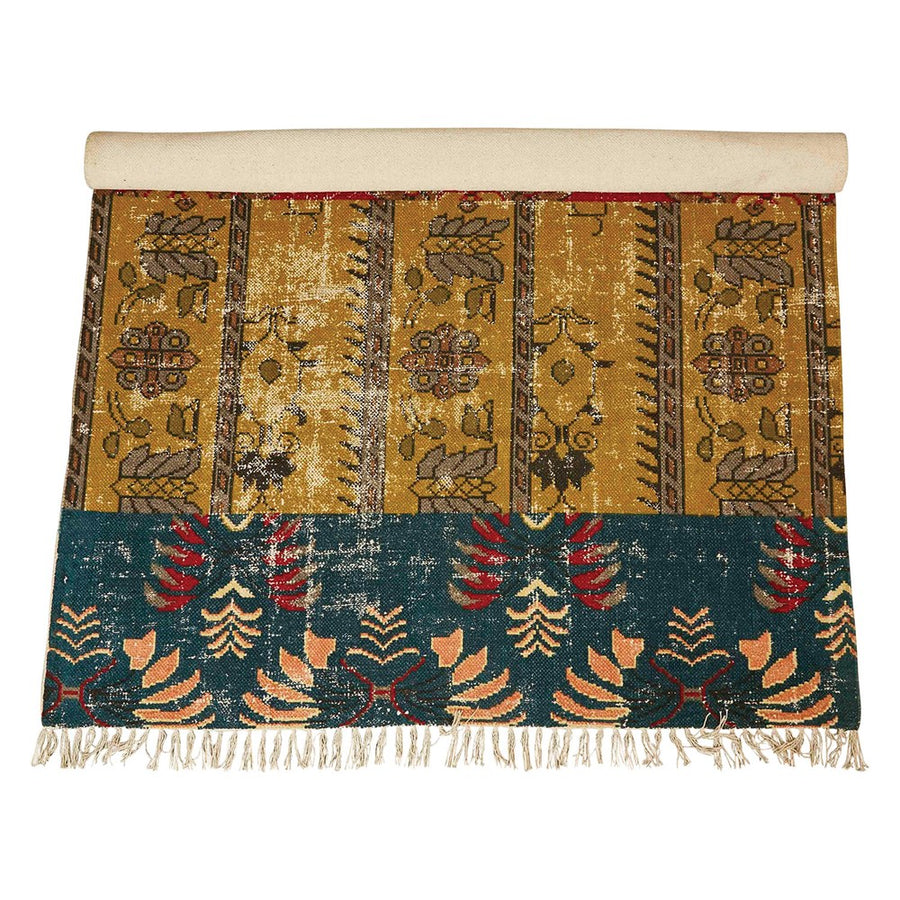Woven Cotton Rug (Teal/Mustard)
