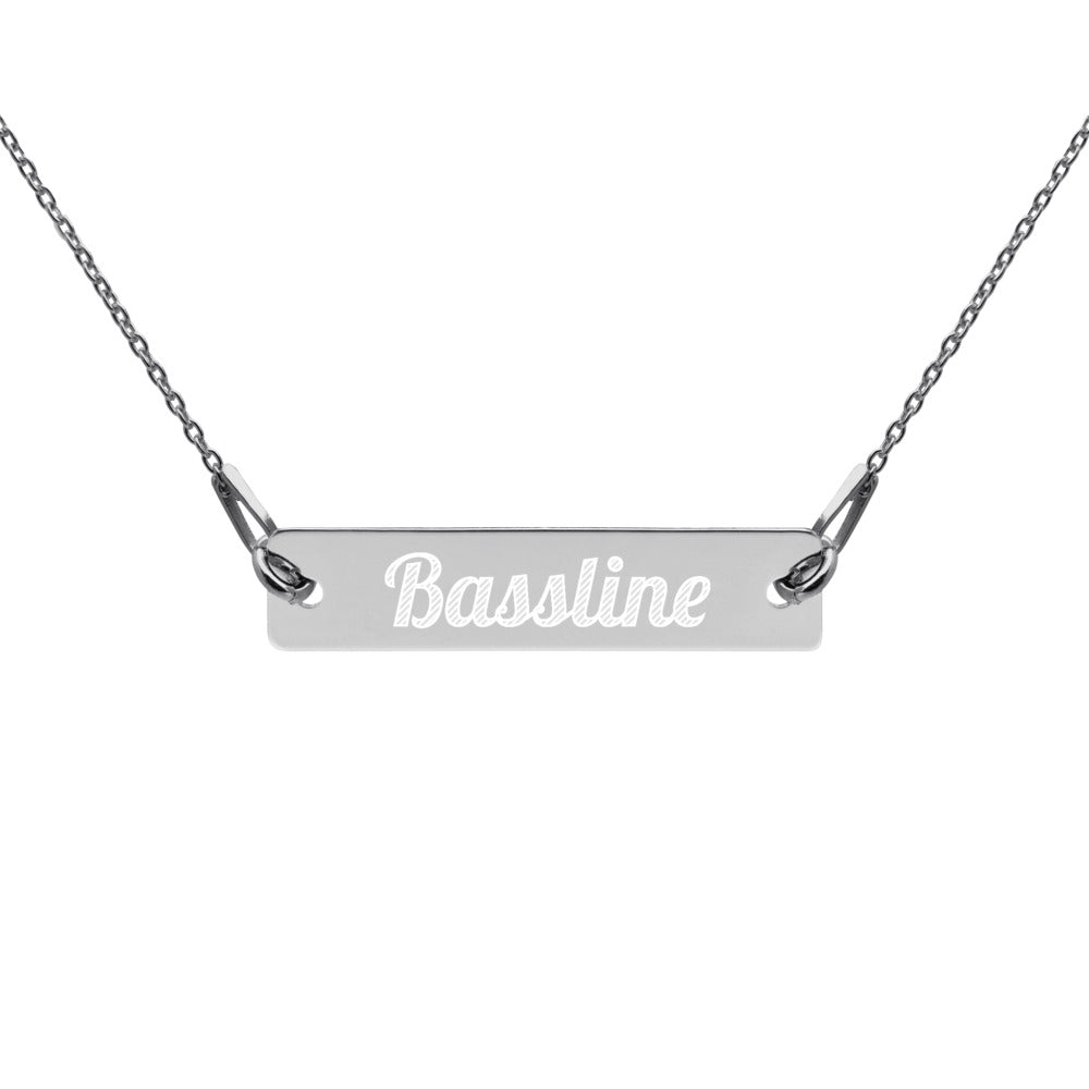 Engraved Silver 'Bassline' Bar Chain Necklace