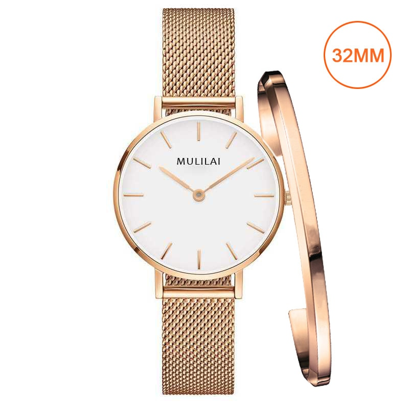 32mm Luxury Brand Ladies Steel Bracelet Quartz Watch fashion Simple Rose gold women dw watch
