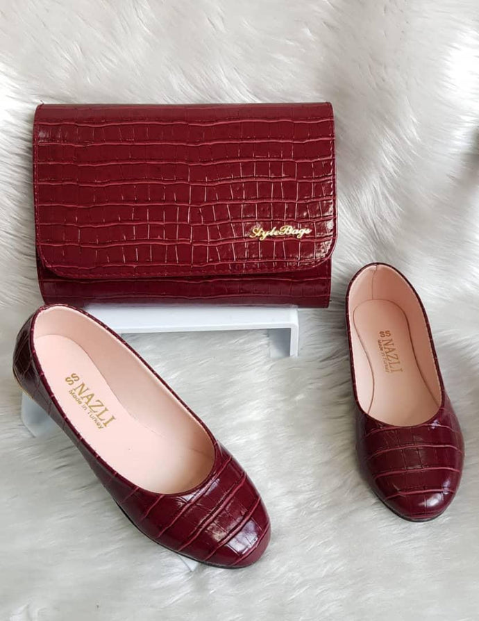 Set of women's leather bags and shoes