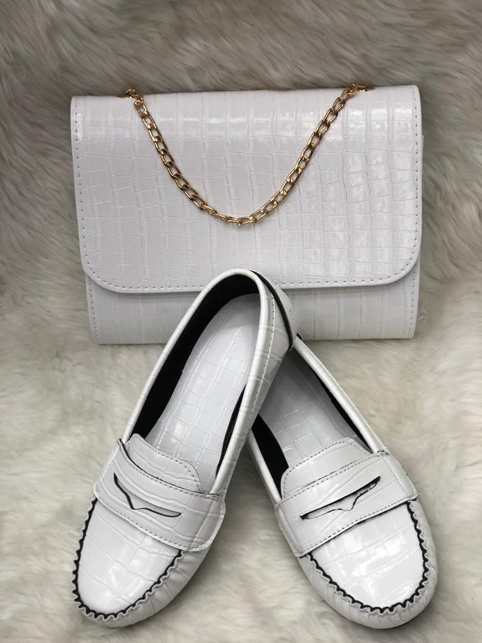 Set of leather bags and shoes