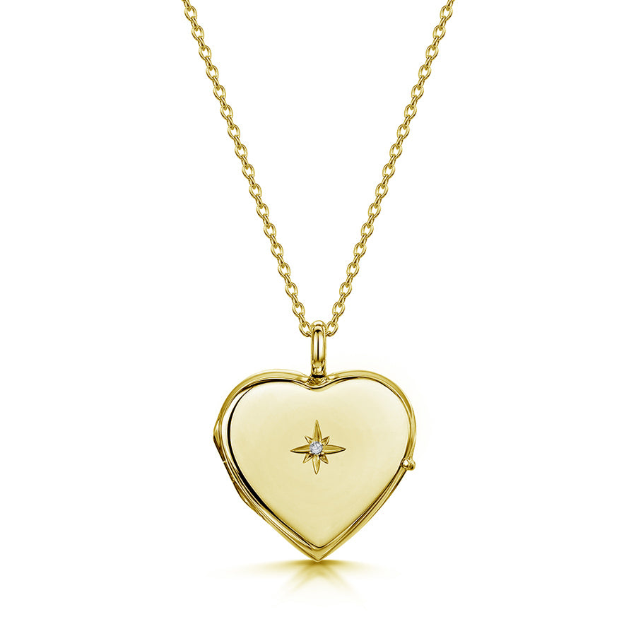 Diamond Set Personalised Heart Locket – Gold