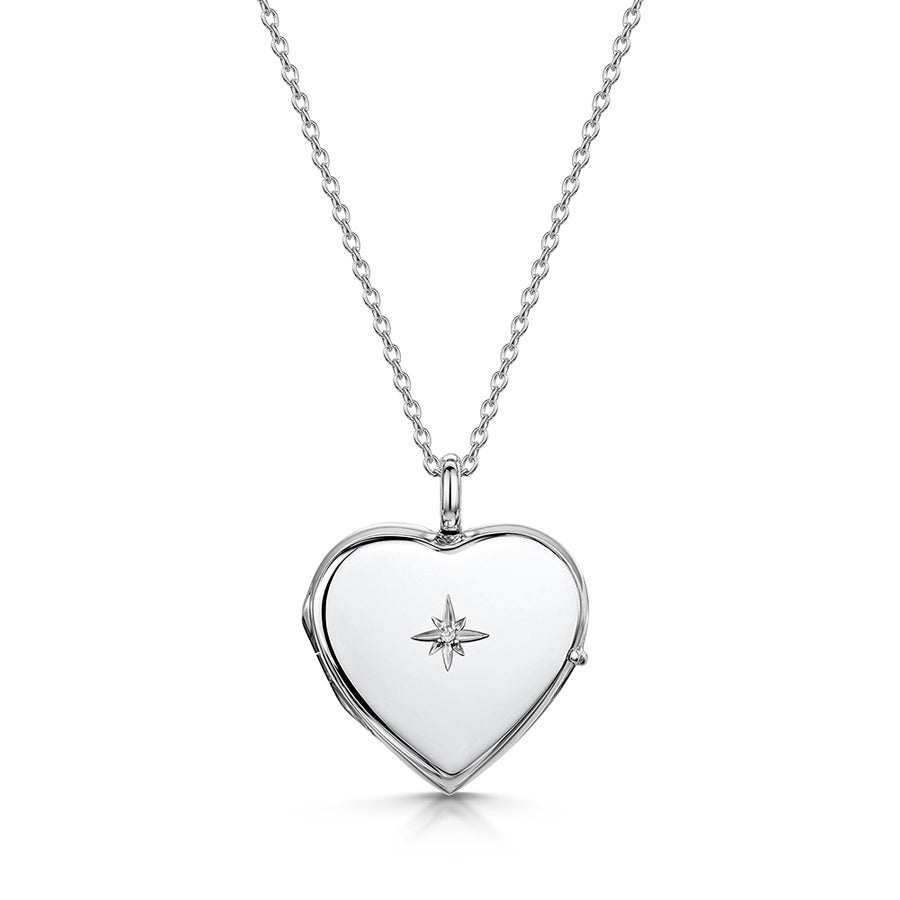 Diamond Set Personalised Heart Locket – Silver