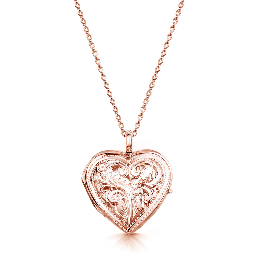 Full Scroll Heart Engraved Locket – Rose Gold
