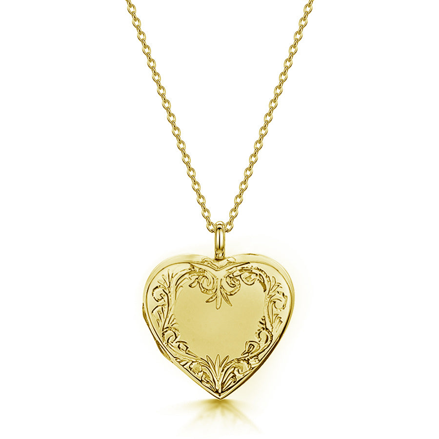 Scroll Heart Gold Locket