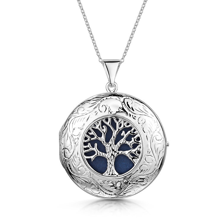 Large Tree of Life Personalised Locket – Silver