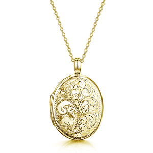Large Oval Scroll Gold Locket