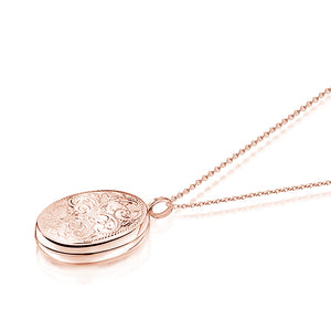 Large Oval Scroll Rose Gold Locket
