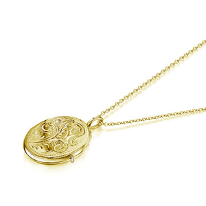 Little Oval Scroll Locket – Gold
