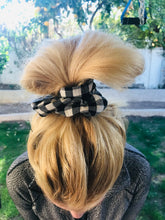 Load image into Gallery viewer, Repurposed Black & White Checker Scrunchie