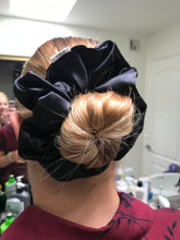Load image into Gallery viewer, Stash in Style XXL Black Satin Scrunchie