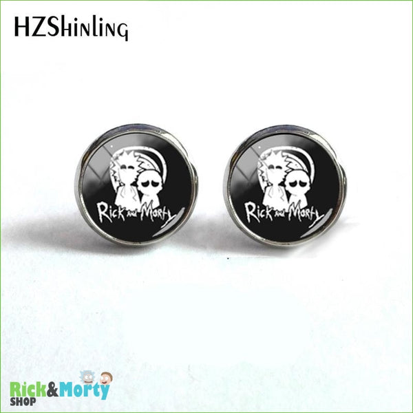 2018 NEW Rick And Morty Round Earring Popular TV Earrings Hot Stud Jewelry Glass Cabochon Photo Ear Studs Stainless Steel - 1