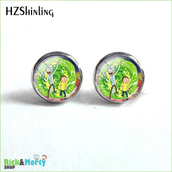 2018 NEW Rick And Morty Round Earring Popular TV Earrings Hot Stud Jewelry Glass Cabochon Photo Ear Studs Stainless Steel - 5 - 6