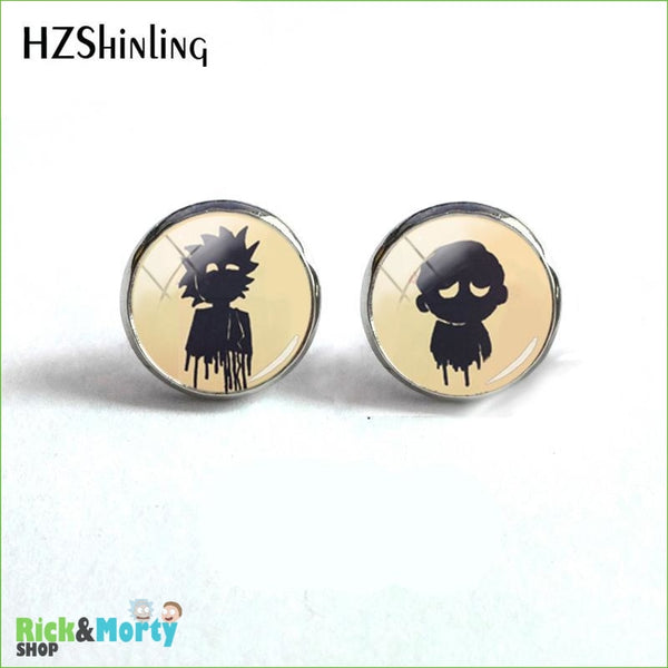 2018 NEW Rick And Morty Round Earring Popular TV Earrings Hot Stud Jewelry Glass Cabochon Photo Ear Studs Stainless Steel - 7 - 4