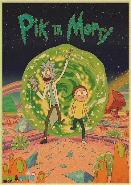 Rick and Morty cartoon Home Furnishing decoration Kraft Movie retro Poster Drawing core Wall stickers - Blue / 30X21CM - 15