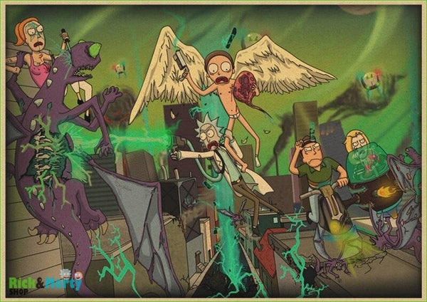 Rick and Morty cartoon Home Furnishing decoration Kraft Movie retro Poster Drawing core Wall stickers - Burgundy / 30X21CM - 16