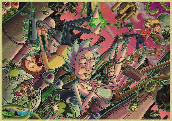 Rick and Morty cartoon Home Furnishing decoration Kraft Movie retro Poster Drawing core Wall stickers - Chocolate / 30X21CM - 10
