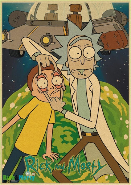 Rick and Morty cartoon Home Furnishing decoration Kraft Movie retro Poster Drawing core Wall stickers - Dark Khaki / 30X21CM - 9