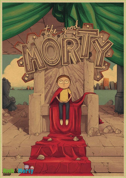 Rick and Morty cartoon Home Furnishing decoration Kraft Movie retro Poster Drawing core Wall stickers - Gold / 30X21CM - 14