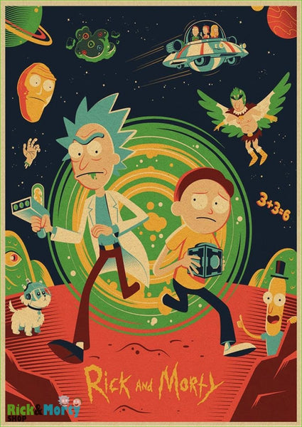 Rick and Morty cartoon Home Furnishing decoration Kraft Movie retro Poster Drawing core Wall stickers - green / 30X21CM - 2