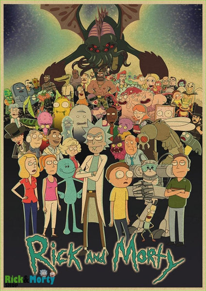 Rick and Morty cartoon Home Furnishing decoration Kraft Movie retro Poster Drawing core Wall stickers - Light Grey / 30X21CM - 4
