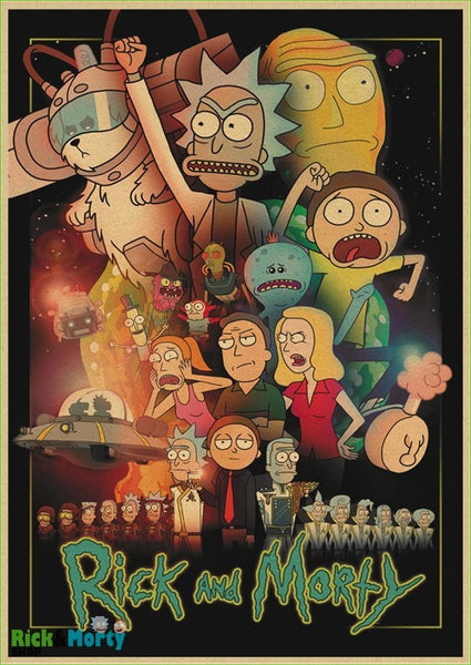 Rick and Morty cartoon Home Furnishing decoration Kraft Movie retro Poster Drawing core Wall stickers - Light yellow / 30X21CM - 17