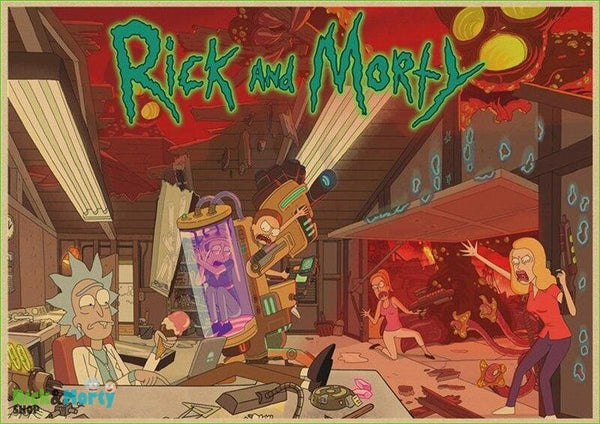 Rick and Morty cartoon Home Furnishing decoration Kraft Movie retro Poster Drawing core Wall stickers - Pink / 30X21CM - 3