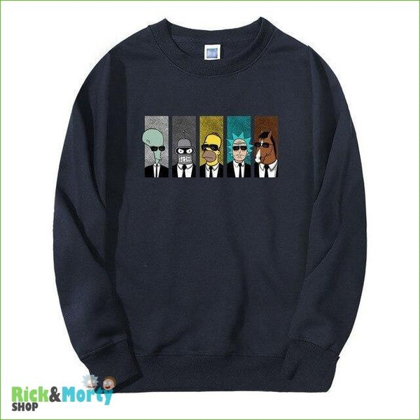 Pull Rick et Morty <br> Men in Black - Bleu foncé / XL - 7