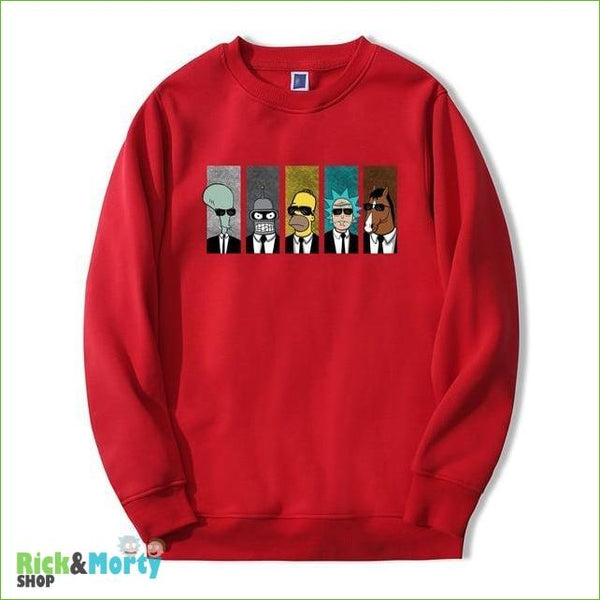 Pull Rick et Morty <br> Men in Black - Rouge / S - 5