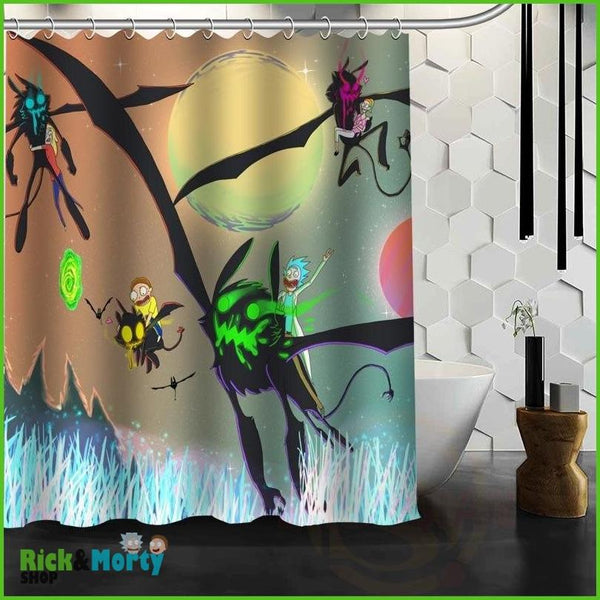 Best Nice Custom Rick And Morty Shower Curtain Bath Curtain Waterproof Fabric For Bathroom MORE SIZE WJY&62 - 9