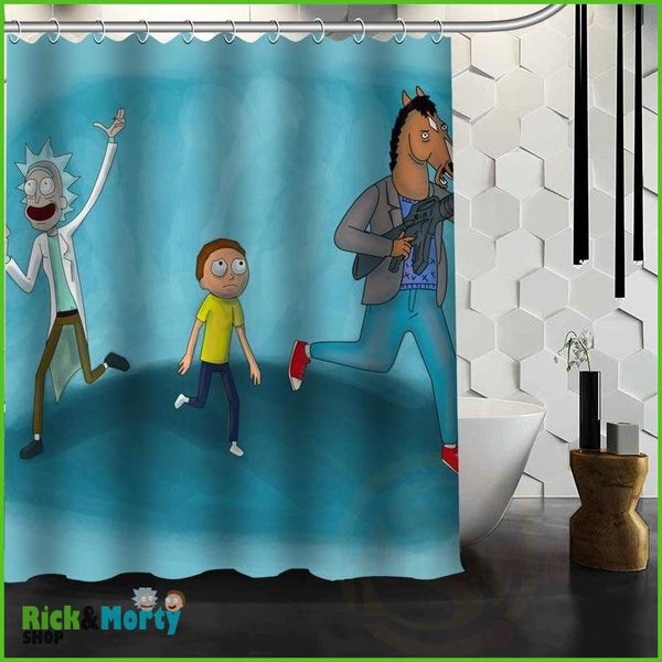 Best Nice Custom Rick And Morty Shower Curtain Bath Curtain Waterproof Fabric For Bathroom MORE SIZE WJY&62 - Black / 60X72inch - 12