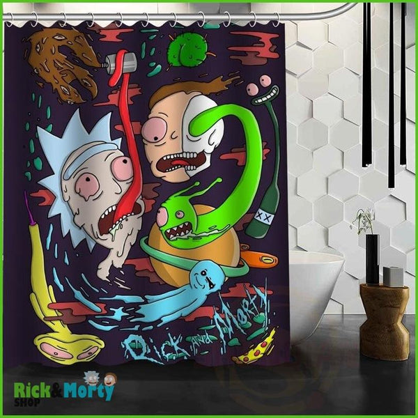 Best Nice Custom Rick And Morty Shower Curtain Bath Curtain Waterproof Fabric For Bathroom MORE SIZE WJY&62 - Brown / 60X72inch - 2