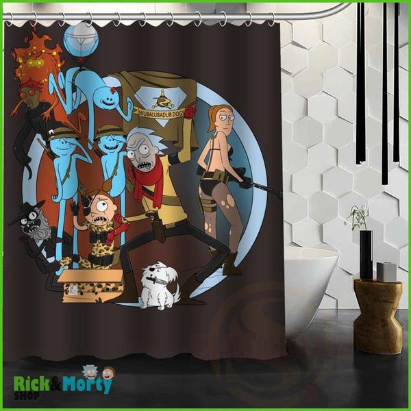 Best Nice Custom Rick And Morty Shower Curtain Bath Curtain Waterproof Fabric For Bathroom MORE SIZE WJY&62 - Dark Khaki / 60X72inch - 11