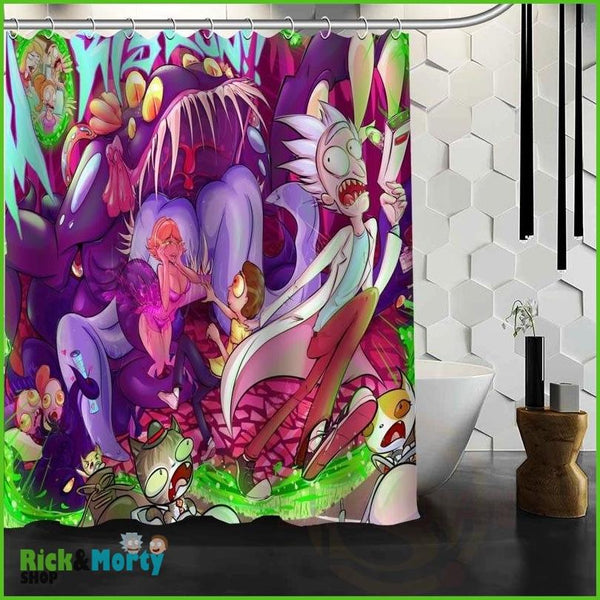 Best Nice Custom Rick And Morty Shower Curtain Bath Curtain Waterproof Fabric For Bathroom MORE SIZE WJY&62 - green / 60X72inch - 14