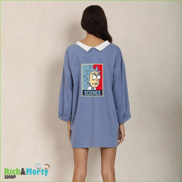 Shirt Dress Female Autumn Wearable On Both Sides Hip Hop Pullover Crazy SCIENCE RICK AND MORTY Harajuku Fashion Sweatshirts - Blue / XL - 2