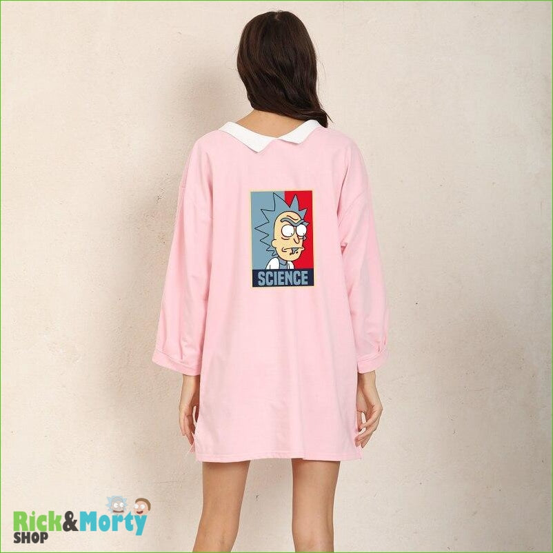Shirt Dress Female Autumn Wearable On Both Sides Hip Hop Pullover Crazy SCIENCE RICK AND MORTY Harajuku Fashion Sweatshirts - Pink / XXL - 3