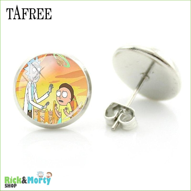 TAFREE Cute Cartoon Character Rick And Morty Figure Stud Earrings For Women Metal Action Figure Earrings Women Jewelry QF428 - QF426 - 2
