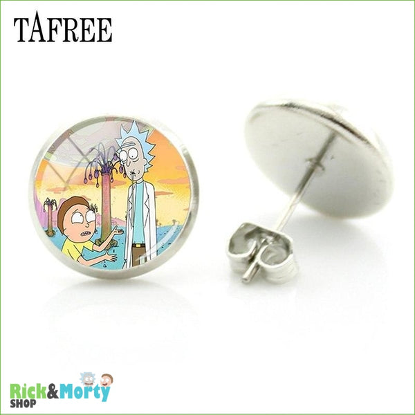 TAFREE Cute Cartoon Character Rick And Morty Figure Stud Earrings For Women Metal Action Figure Earrings Women Jewelry QF428 - QF427 - 3