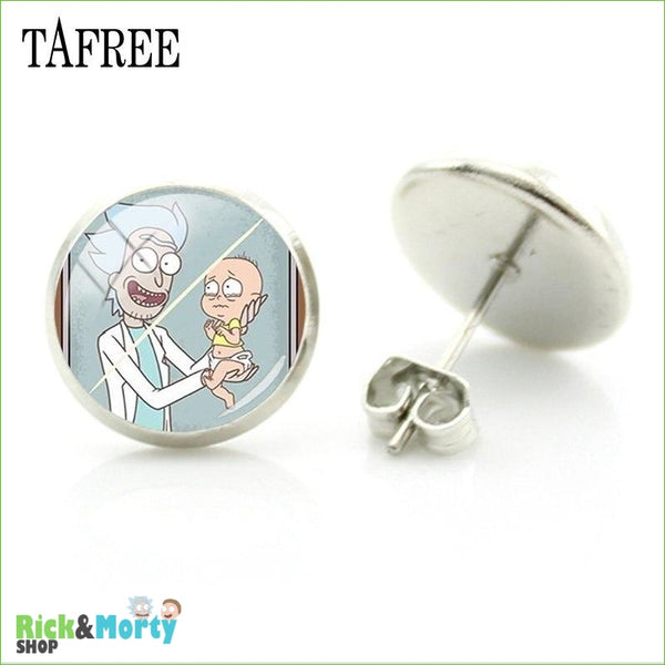 TAFREE Cute Cartoon Character Rick And Morty Figure Stud Earrings For Women Metal Action Figure Earrings Women Jewelry QF428 - QF429 - 26