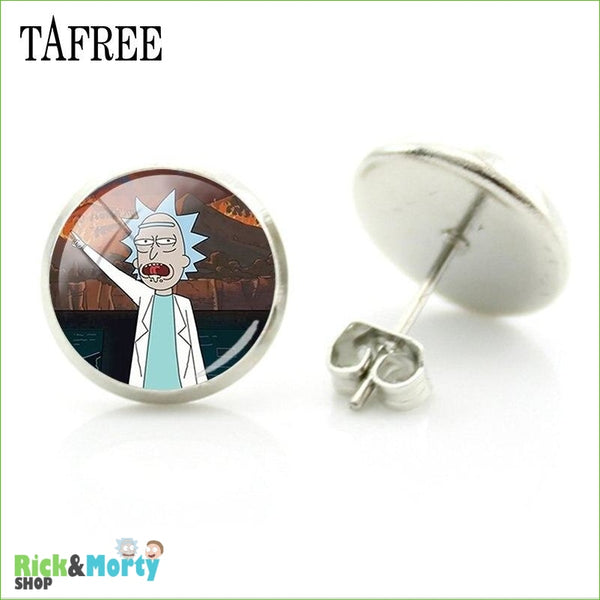 TAFREE Cute Cartoon Character Rick And Morty Figure Stud Earrings For Women Metal Action Figure Earrings Women Jewelry QF428 - QF430 - 24