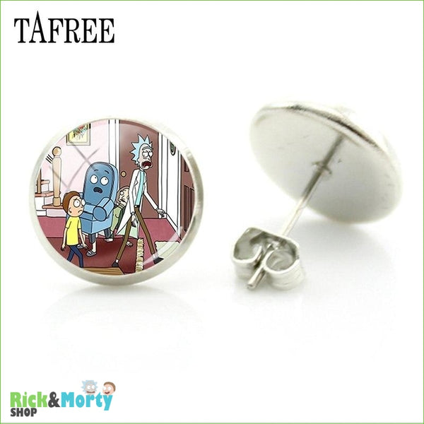TAFREE Cute Cartoon Character Rick And Morty Figure Stud Earrings For Women Metal Action Figure Earrings Women Jewelry QF428 - QF431 - 9