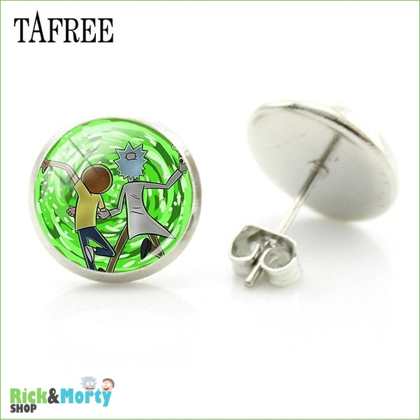 TAFREE Cute Cartoon Character Rick And Morty Figure Stud Earrings For Women Metal Action Figure Earrings Women Jewelry QF428 - QF436 - 13