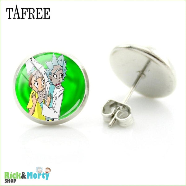 TAFREE Cute Cartoon Character Rick And Morty Figure Stud Earrings For Women Metal Action Figure Earrings Women Jewelry QF428 - QF437 - 8
