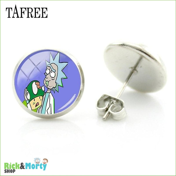 TAFREE Cute Cartoon Character Rick And Morty Figure Stud Earrings For Women Metal Action Figure Earrings Women Jewelry QF428 - QF438 - 11