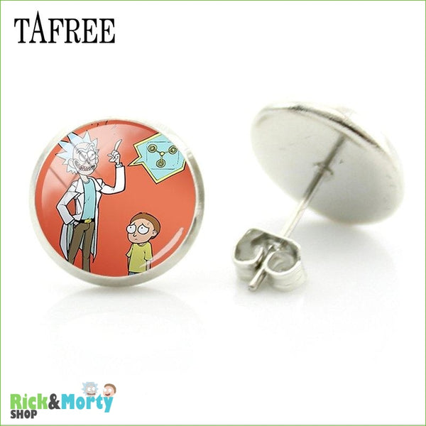 TAFREE Cute Cartoon Character Rick And Morty Figure Stud Earrings For Women Metal Action Figure Earrings Women Jewelry QF428 - QF439 - 14