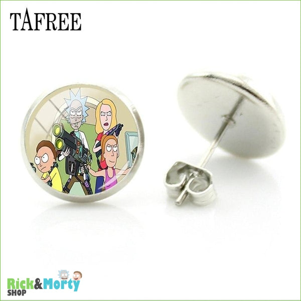 TAFREE Cute Cartoon Character Rick And Morty Figure Stud Earrings For Women Metal Action Figure Earrings Women Jewelry QF428 - QF441 - 6