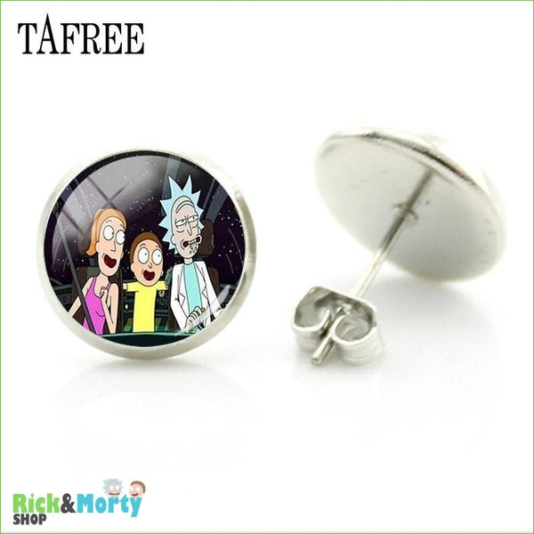 TAFREE Cute Cartoon Character Rick And Morty Figure Stud Earrings For Women Metal Action Figure Earrings Women Jewelry QF428 - QF442 - 21