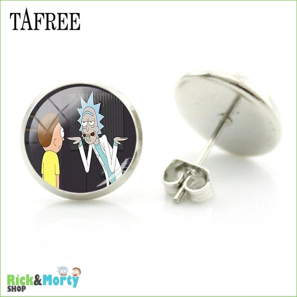 TAFREE Cute Cartoon Character Rick And Morty Figure Stud Earrings For Women Metal Action Figure Earrings Women Jewelry QF428 - QF443 - 7