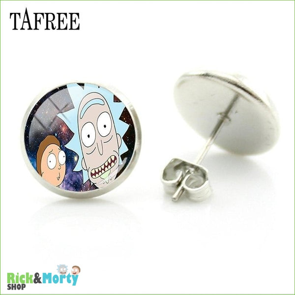 TAFREE Cute Cartoon Character Rick And Morty Figure Stud Earrings For Women Metal Action Figure Earrings Women Jewelry QF428 - QF444 - 15